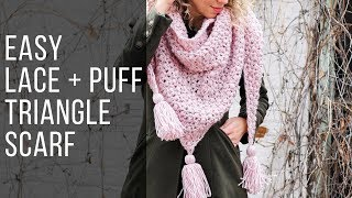 How to Crochet an Easy Puff Stitch Shawl/Scarf - Free Pattern!