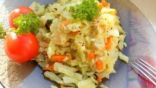 Тушеная капуста с рисом и мясом