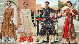 Designer Long Party Wear ,Stylish Fancy Long Double Layer Kurti Kurta For women