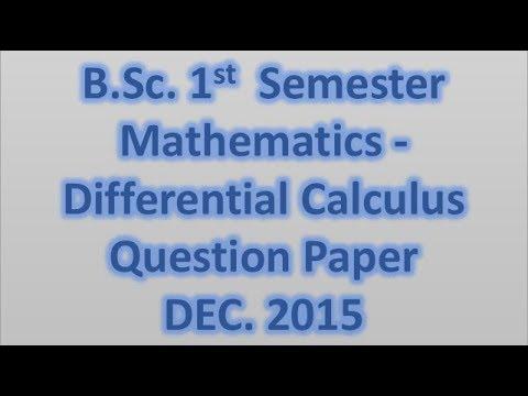 B Sc  - 1st Semester Mathematics (2015 )differential Calculus