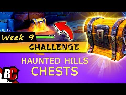 Fortnite WEEK 9 Challenge | Haunted Hills Treasure CHEST Locations (Treasure Chest Map Locations)
