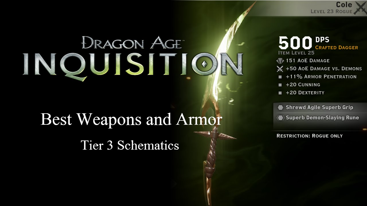 Best Weapons And Armors (Tier 3 Schematics)   Dragon Age Inquisition    YouTube