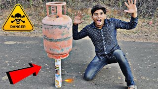 Gas Cylinder vs Giant Sky Shot Experiment || Cylinder Fly Or Not || Experiment King