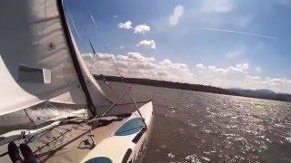 Hobie Wave Catamaran Sailing Zywieckie Lake 2015 SJCAM SJ4000