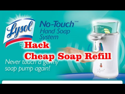 hack lysol hands free soap dispenser cheap soap refill youtube rh youtube com