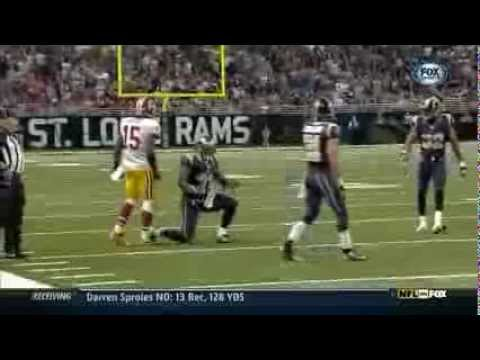 Josh Morgan throws ball at Cortland Finnegan- Rams v. Redskins - 9/16/2012