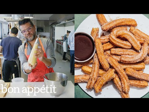 Churros with Bittersweet Chocolate Sauce, Mexico-Style | From the Test Kitchen | Bon Appetit