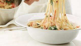 2012 Milk Calendar July Recipe : Garlic Shrimp And Spinach Linguine