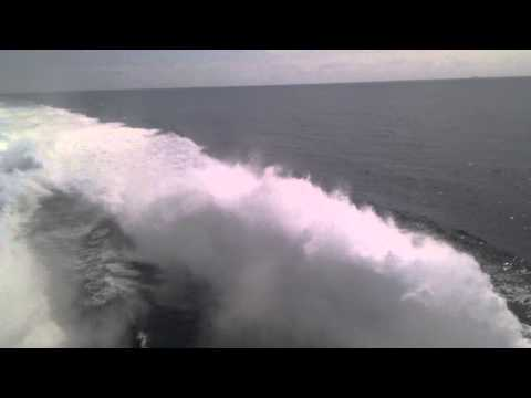 Ferry turbine engines in action (Denmark to Norway)