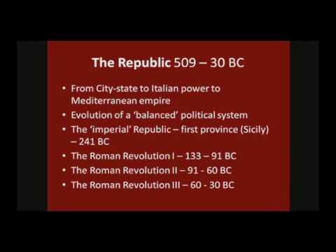 The Roman Republic (1/2) – Prof. David Kennedy