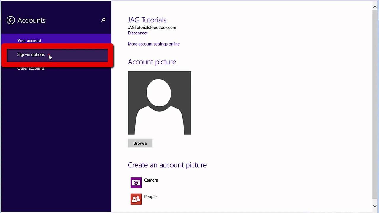 win 8 change account password