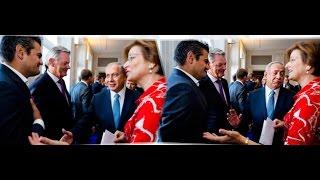 بالفيديو|بعد تصريحات نتنياهو.. نائب هولندي يرفض مصافحته ويضع علم فلسطين ويعرض صور للانتهاكات: هل هذه ديمقراطية؟