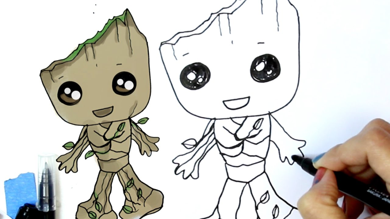 How To Draw Baby Groot Guardians Of The Galaxy 2 Youtube