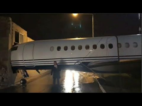 Private jet 'owned by Lord Ashcroft' crashes into Malta Airport building