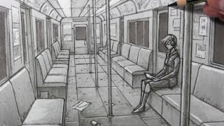 Drawing Time Lapse: Subway Car Interior