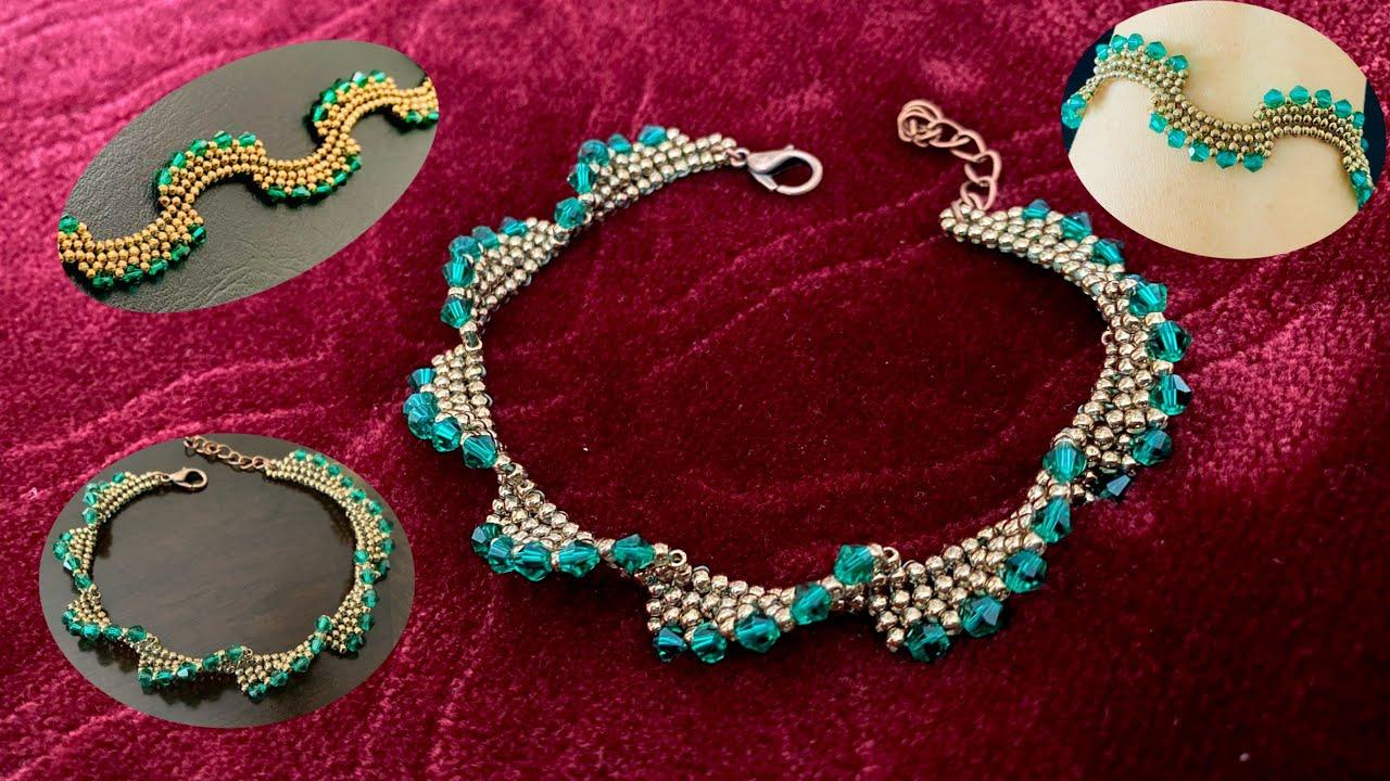 Wavy Bicone Bracelet || How to make Beaded Bracelet || Pulsera