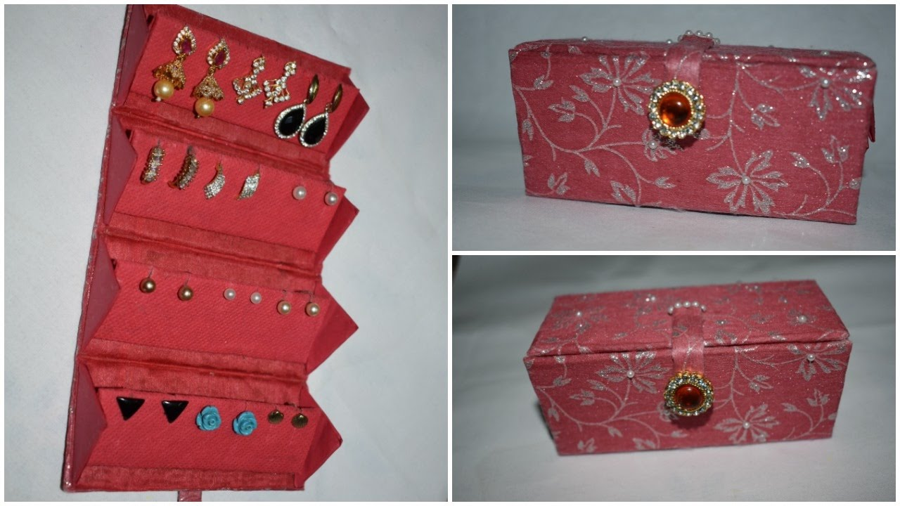 Diy Travel Friendly Earring Holder Jewellery Organizer Best Out Of Waste Crafts