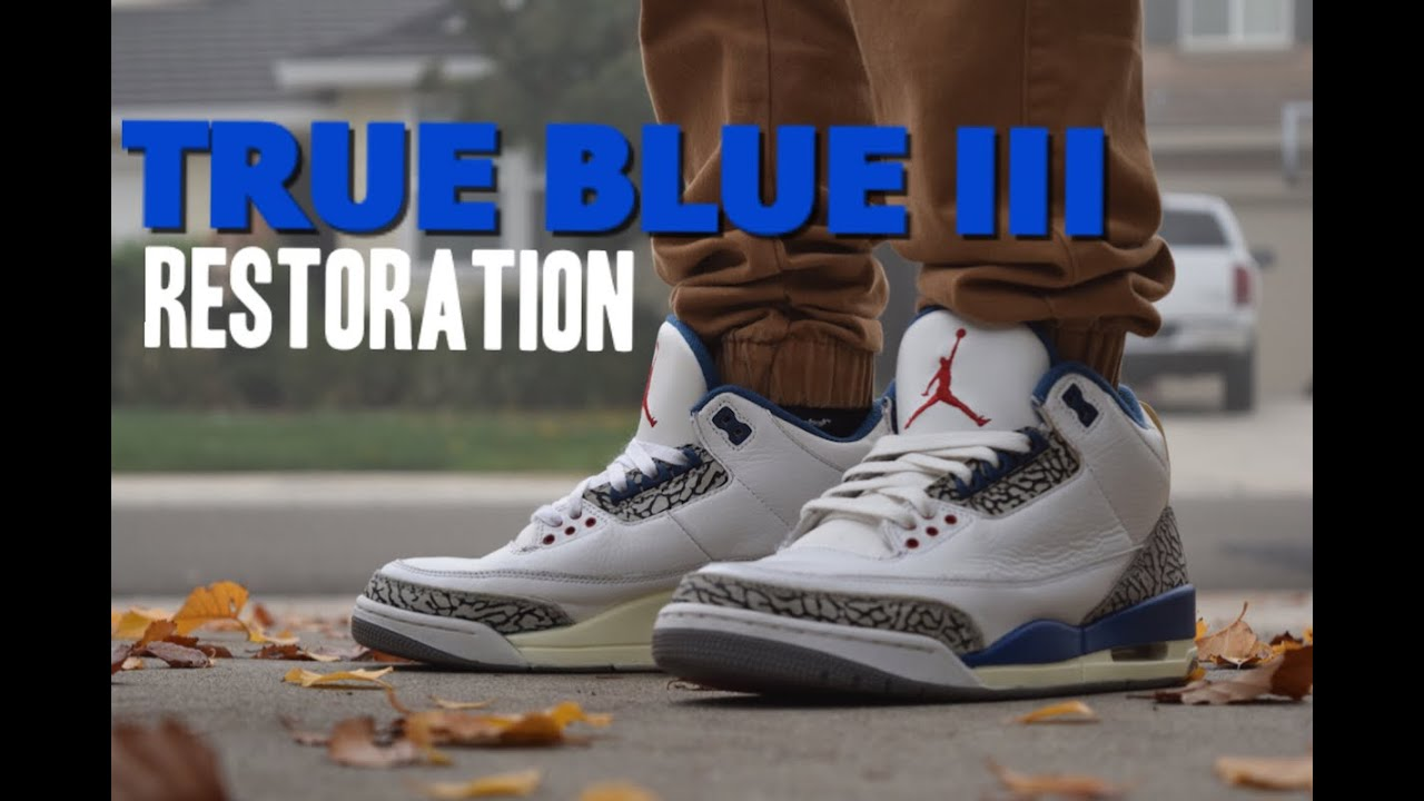 696600d0bdce19 Jordan 3 True Blue FULL Restoration (Midsole Repaint and Cleaning ...