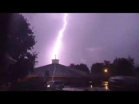 Slow-motion Lightning at Fortville Church of the Nazarene