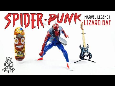 """Spider-Punk Marvel Legends Spider-Man 6"""" lizard BAF wave action figure review"""
