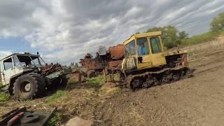 Гусеничный трактор ДТ-75 против Т-150к. Тянем, что осталось от ХТЗ.
