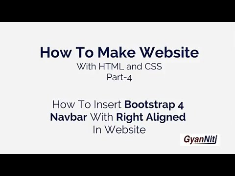 How To Insert Bootstrap 4 Navbar With Right Aligned In Website | creat a  website | part-5