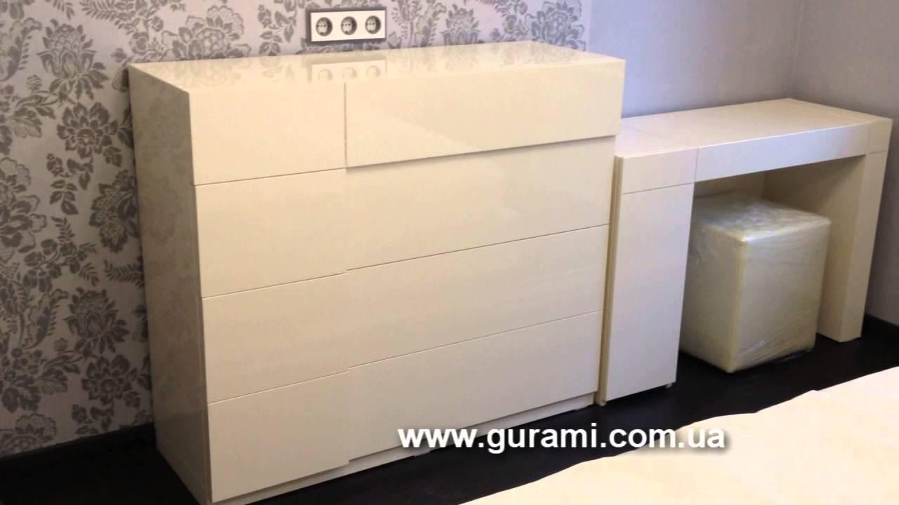 Кровать белая глянцевая на заказ - YouTube