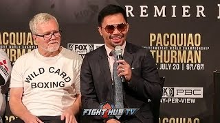 MANNY PACQUIAO LAUGHS AT KEITH THURMAN'S RETIREMENT TRASH TALK! SAYS HES JUST SAYING