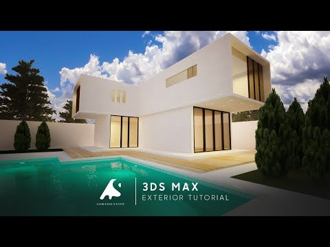 3D Max Modern Exterior Light Modeling Tutorial 2016 Vray Render Real Water+ Photoshop
