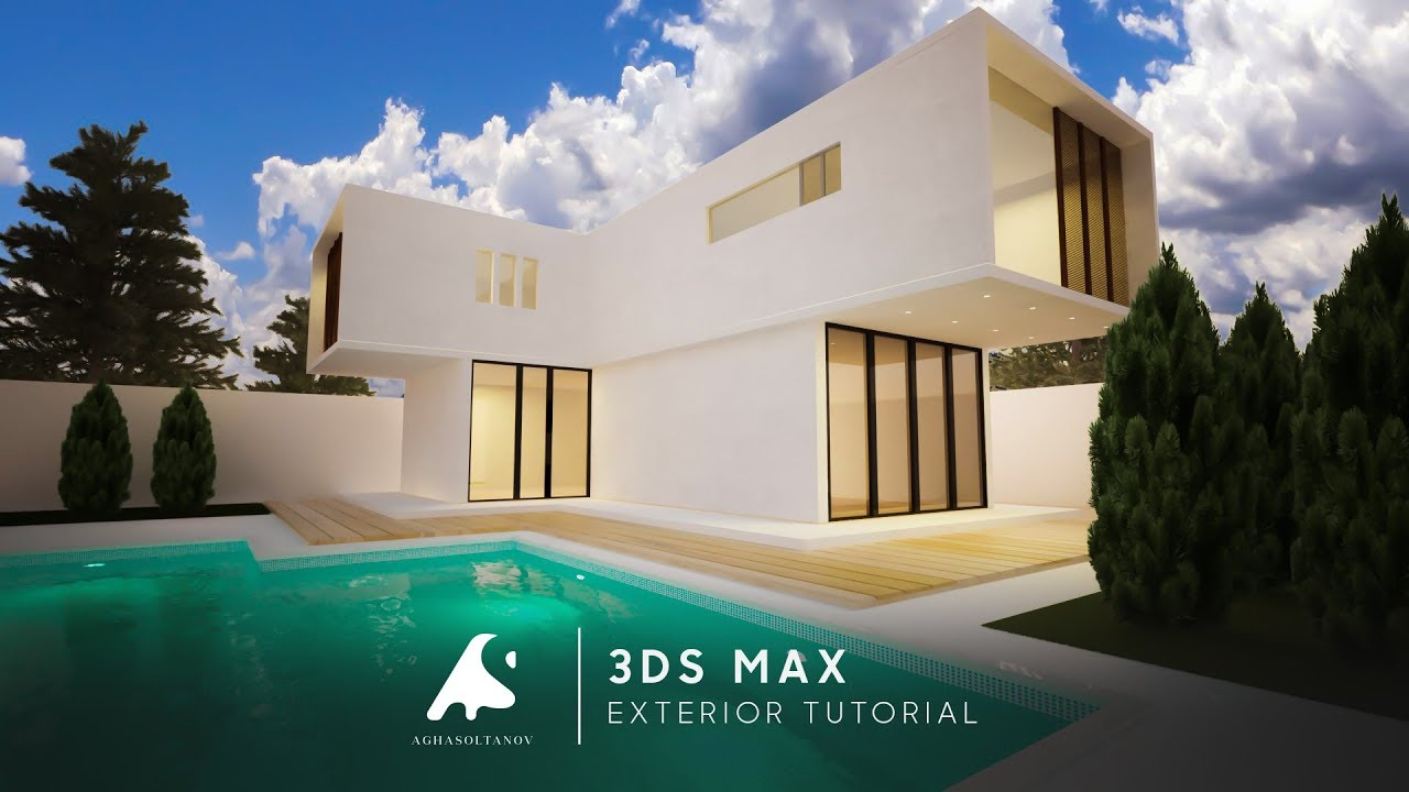 3d max modern exterior light modeling tutorial 2016 vray render real water photoshop