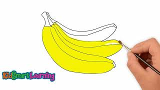 Drawing and coloring Banana for kids with KidsSmart Learning