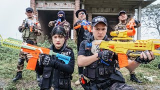 LTT Game Nerf War : Patrol Police Warriors SEAL X Nerf Guns Fight Crime group Braum Crazy