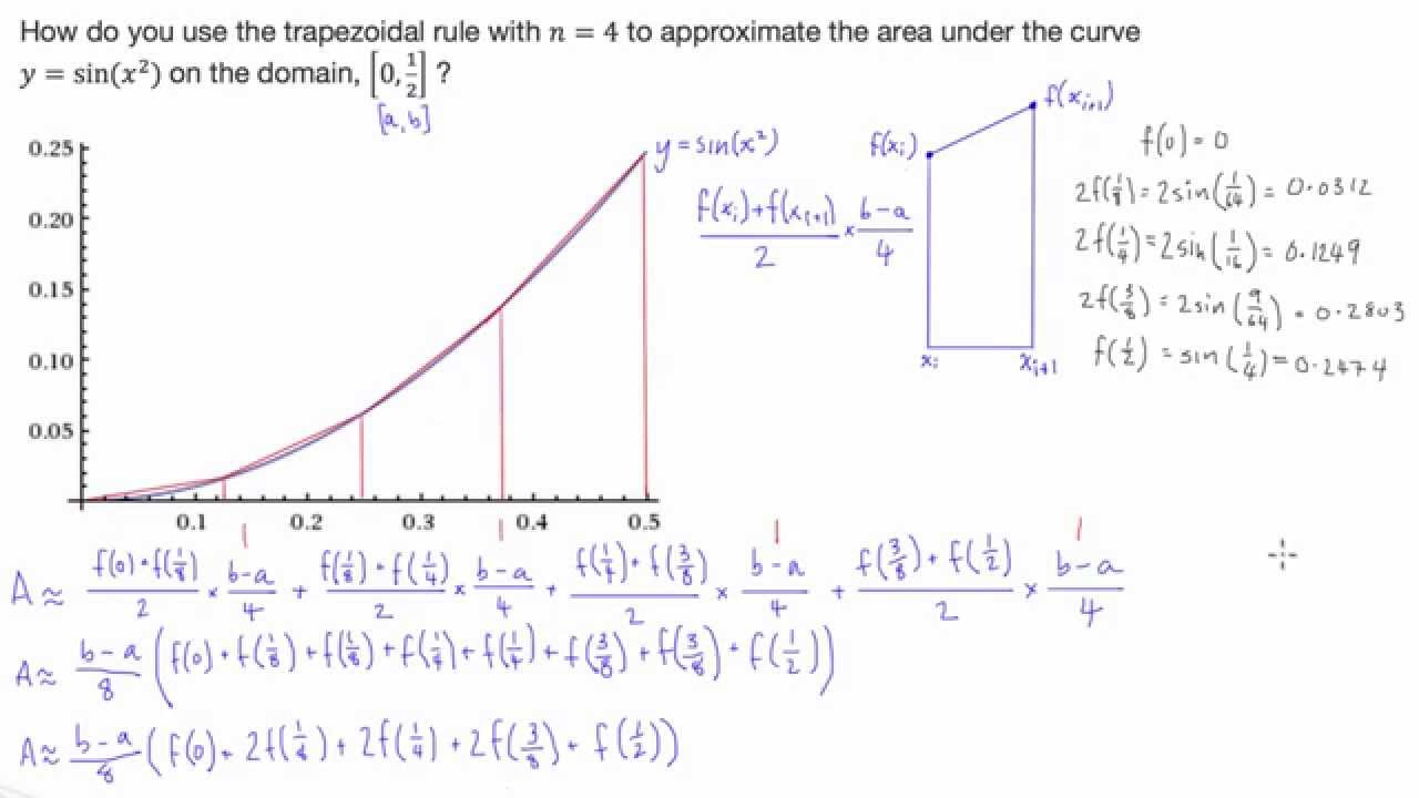 Estimating Area Under Curve Using Trapezoidal Method Calculus