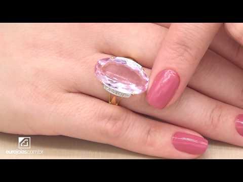 Anel com Rose de France e 8 Diamantes, em Ouro Amarelo 18 Kilates