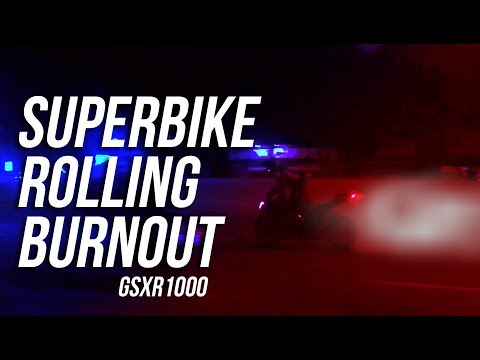 Superbike Rolling Burnout!! Suzuki GSXR1000 (INSANE)