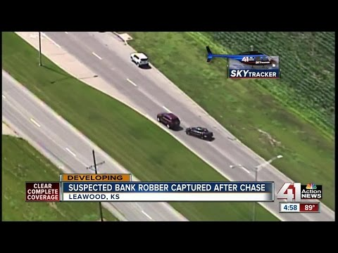 Bank robbery suspect arrested after police pursuit, crash in south KC metro (5pm)