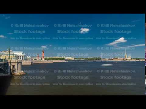 Strelka - Spit of Vasilyevsky Island with the Old Stock Exchange and Rostral Columns timelapse in