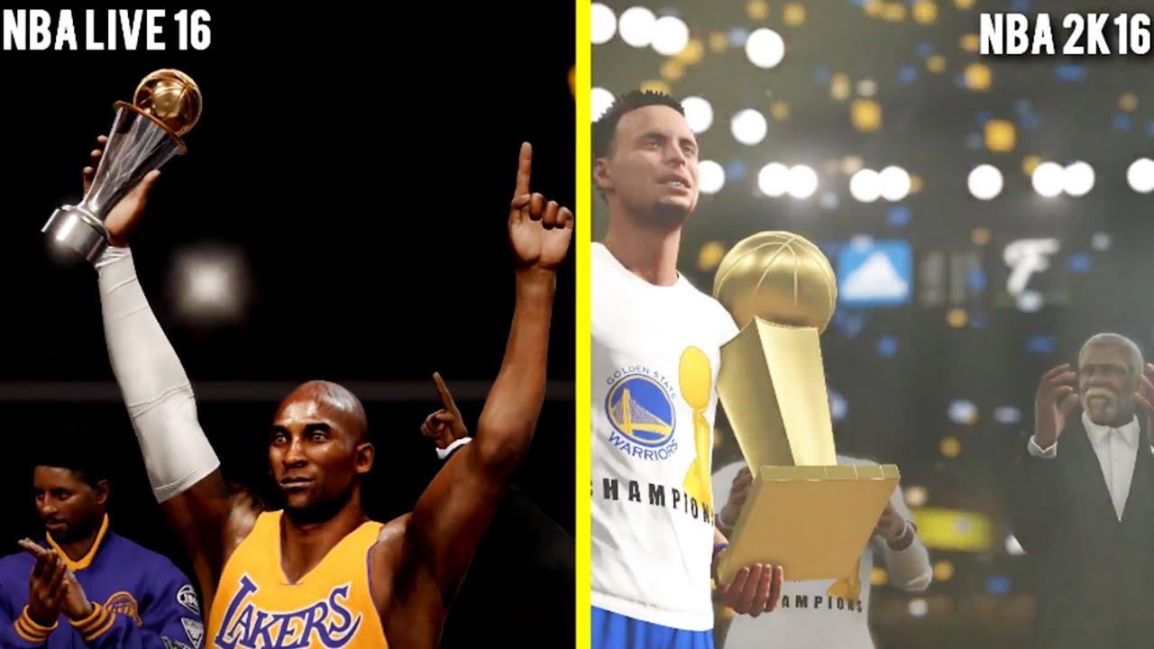 NBA 2K16 vs NBA LIVE 16 Finals Celebration Comparison ...