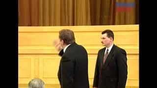 Жириновский выкрикивает вопрос Ельцину