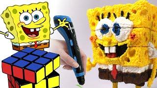 Rubik's Cube SpongeBob - 3D pen drawing timelapse