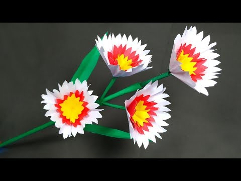 Easy Handcraft: How to Make Very Beautiful Handcraft Paper Stick Flower | DIY | Abigail Paper Crafts