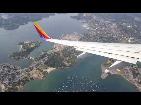 Southwest Flight Landing at Boston Logan Airport - 8-29-16