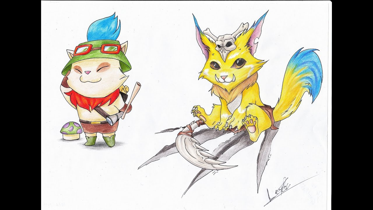 How To Draw League Of Legends Teemo And Gnar Timelapse ...