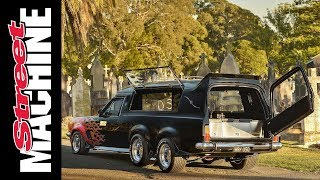 Six-wheel HT Holden hearse & Brougham mourning coach