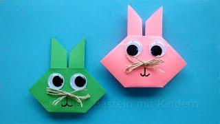 Osterhasen falten - Origami Hasen basteln mit Kindern - Geschenke für Ostern basteln mit Papier