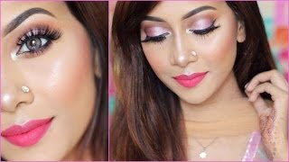 GLOWY PINK EYES FULL FACE MAKEUP TUTORIAL ♡ GUERNISS COSMETICS ll Sumayaa Meem