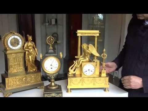 Antique clocks. Three clocks from Napoleonic period..mp4