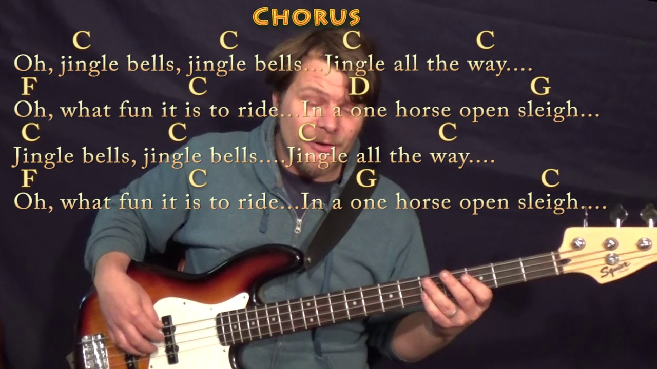 Jingle Bells Christmas Bass Guitar Cover Lesson In C With Chords