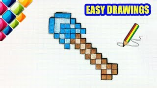 Easy drawings #307  How to draw a Minecraft Shovel  / drawings for beginners