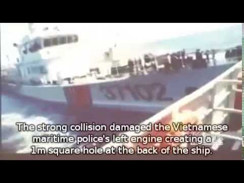 Chinese ships attacked Vietnamese ships in exclusive economic zone (with English subtitle)